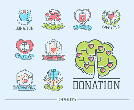 Donate money vector icons set Çizim