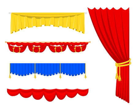 Blind curtain stage fabric vector icon illustrations