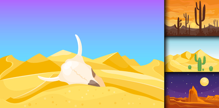 Desert mountains sandstone wilderness landscape background dry under sun hot dune scenery travel vector illustration.