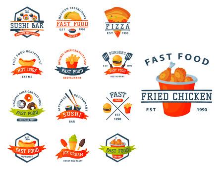 Colorful cartoon fast food label logo isolated restaurant tasty american cheeseburger badge mea meal vector illustration. Çizim