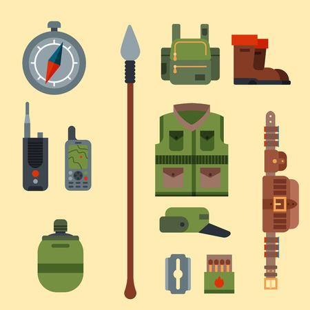 Armes de chasse et symboles éléments de conception illustration de vecteur d'animaux sauvages de chasseur de style plat. Banque d'images - 83760913