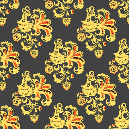 Vector khokhloma seamless pattern traditional Russia drawn illustration ethnic ornament painting illustration Illustration