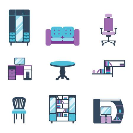 Furniture interior icons home design modern living room house comfortable apartment vector illustration Çizim