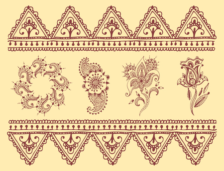 Henna tattoo brown mehndi flower doodle ornamental decorative indian design pattern paisley arabesque mhendi embellishment vector. Illustration