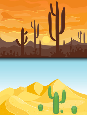 Desert mountains sandstone wilderness landscape background dry under sun hot dune scenery travel vector illustration. Environment scene sandstone africa outdoor adventure. 向量圖像