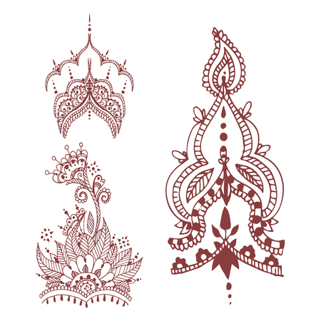 Henna tattoo brown mehndi flower doodle ornamental decorative indian design pattern paisley