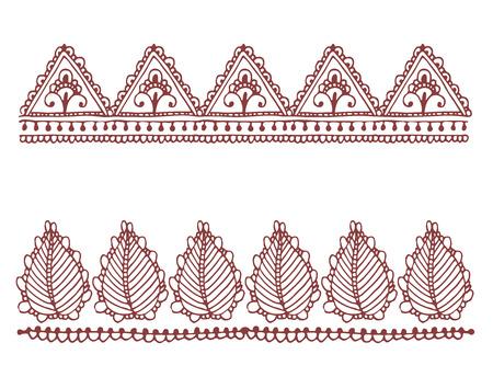 Henna tattoo brown mehndi flower doodle ornamental decorative indian design pattern Illustration