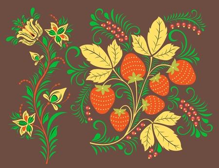 Traditional Russia drawn illustration ethnic ornament painting illustration
