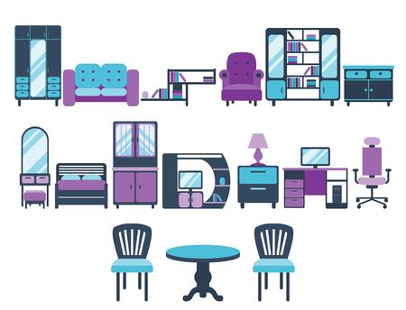 Furniture interior icons vector illustration