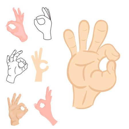 Ok hands success gesture. Illustration