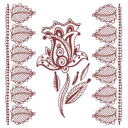 Henna tattoo brown mehndi flower. Ilustrace