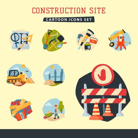 건설 사이트 근로자 공중 산업 장비 아키텍처 크레인 건물 사업 개발 벡터 일러스트 레이 션. 주택 산업 도시 기계 장치 주택 만들기입니다.