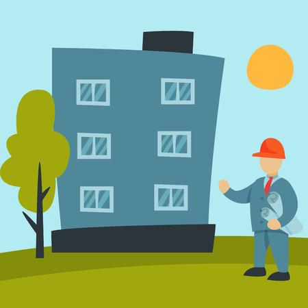 建設サイト労働者航空産業機器建築クレーン事業開発のベクトル図を構築します。工業都市機械住宅の家。