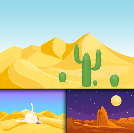 Desert mountains sandstone wilderness landscape background dry under sun hot dune scenery travel vector illustration. Environment scene sandstone africa outdoor adventure. Illustration