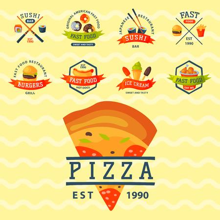 hot dog: Colorful cartoon fast food label logo isolated restaurant tasty american cheeseburger badge mea meal vector illustration. Illustration