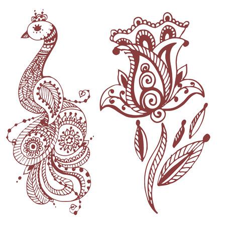 Henna tattoo brown mehndi flower template doodle ornamental lace decorative element and indian design pattern paisley arabesque mhendi embellishment vector. Traditional decorative mandala element. Ilustrace