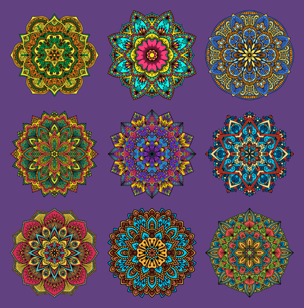 Mandala traditional flower pattern flower vector set. Illustration
