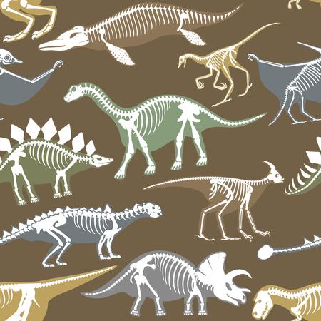 Dinosaurs skeletons silhouettes bone tyrannosaurus prehistoric animal.