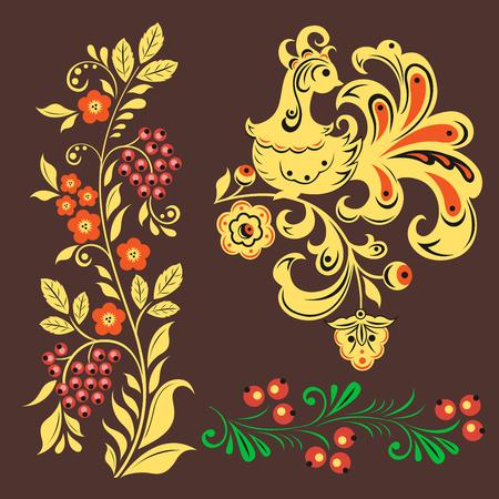 khokhloma Russian pattern design. Illustration