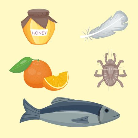 Allergie symbolen ziekte gezondheidszorg voedsel virussen gezondheid plat ziekte allergeen symptomen ziekte informatie vector illustratie.