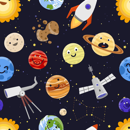 Space planets solar system astrology seamless pattern background vector illustration Illustration