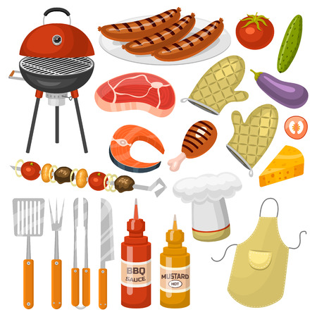Barbecue party products BBQ grilling kitchen outdoor family time cuisine vector icons illustration Illustration