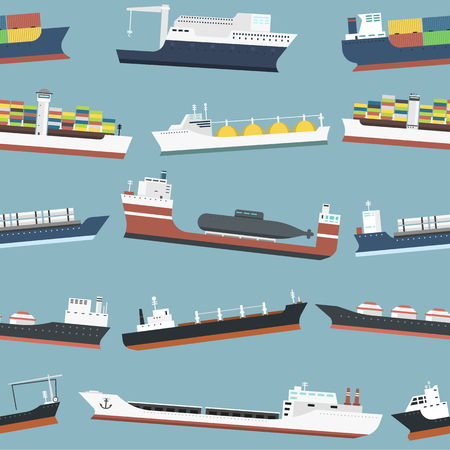 Cargo vessels and tankers shipping delivery bulk carrier freight boat seamless pattern background vector illustration Illustration