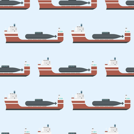 Cargo vessels and tankers shipping delivery bulk seamless pattern carrier train freight boat tankers background vector illustration Banco de Imagens - 86739696