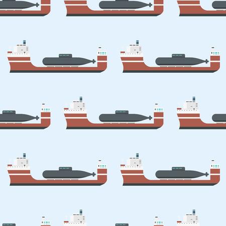 Le navi da carico e le petroliere che spediscono l'illustrazione senza cuciture alla rinfusa di vettore del fondo delle autocisterne della barca del trasporto del treno di trasportatore del modello della consegna Archivio Fotografico - 86739696