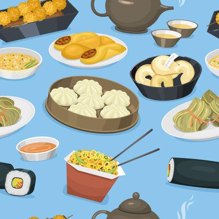 Muster-Hintergrund-Vektorillustration des Küchenasien-Asien-Abendmahlzeitporzellans des chinesischen Traditionslebensmittelgerichts nahtloser Standard-Bild - 86739698