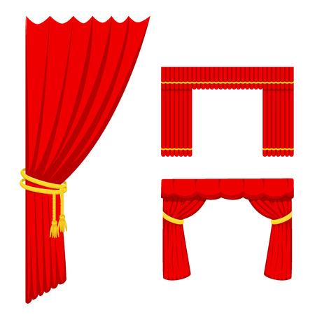 Théâtre, scène, rideau, scène, tissu, texture, performance, intérieur, tissu, entrée, toile de fond, isolé, vecteur, illustration Banque d'images - 86739699