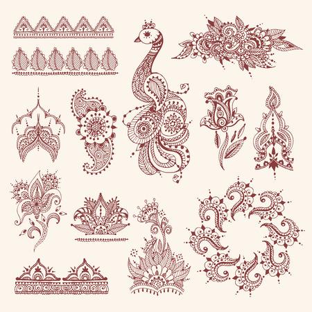 Floral mehendi flowers vintage pattern ornament vector illustration hand drawn henna india background Ilustração