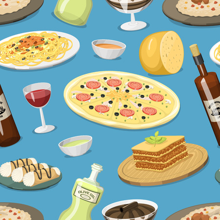 Cartoon Italy food cuisine homemade seamless pattern background cooking fresh traditional Italian lunch vector illustration. Illustration