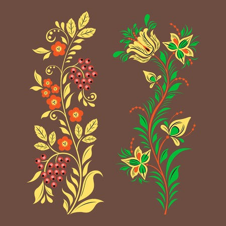 Vector khokhloma Russian pattern design traditional Russia drawn illustration ethnic ornament painting illustration