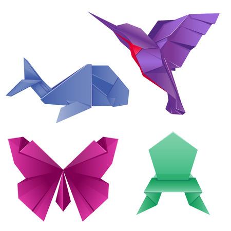 Animals origami set japanese folded modern wildlife hobby symbol creative decoration vector illustration.