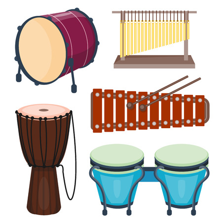 Musical drum wood rhythm music instrument series set of percussion vector illustration Illusztráció