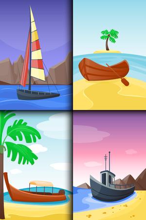 Summer time boat vacation nature tropical beach landscape of paradise island holidays lagoon vector illustration. Ilustracja
