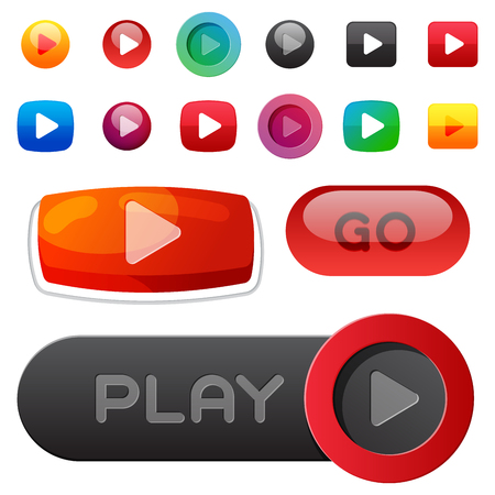 UI interface button play media internet website element online player mark click vector illustration. Stock Vector - 86847269