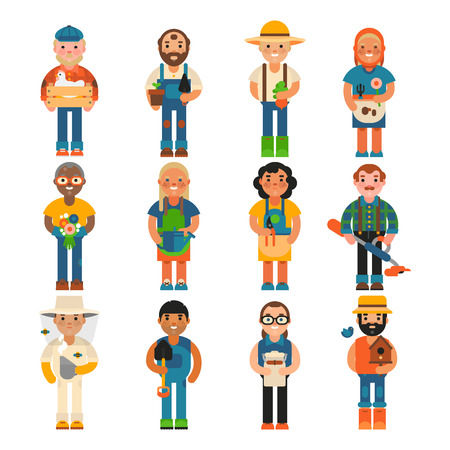 Farmer worker people character agriculture person profession farming life vector illustration.