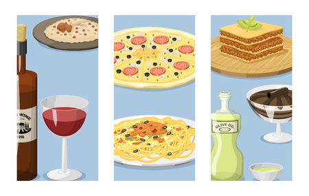 만화 이탈리아 음식 카드 요리 맛있는 집에서 요리 신선한 전통 이탈리아 점심 벡터 일러스트 레이 션.