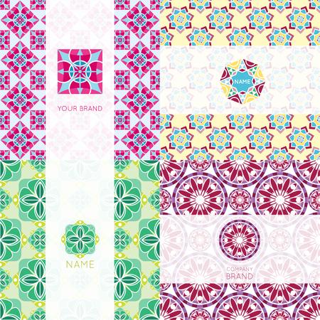 Abstract triangular polygonal shape kaleidoscope geometry company brand template circle decorative vector background. Ilustrace
