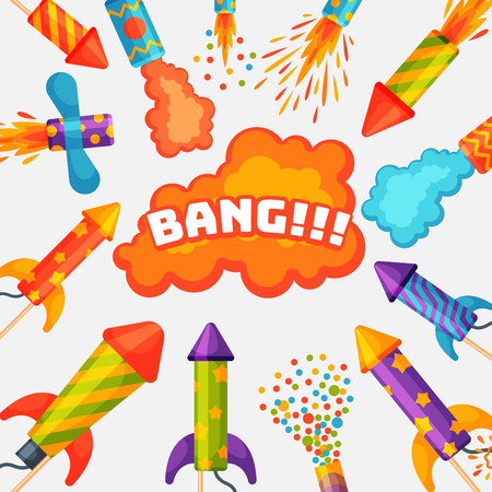 Fireworks pyrotechnics rocket and flapper birthday party gift celebrate illustration festival tools. Illustration