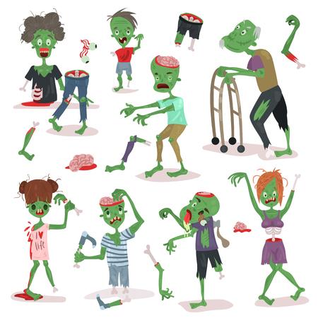 Furchtsamer Karikaturleutecharakter Halloween-Leute-Körperteile der Zombie-Gruppe von netten grünen Charaktermonstern vector Illustration. Horror Zombie Menschen.