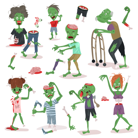 Zombie scary cartoon people character Halloween people body parts group of cute green character monsters vector illustration. Horror zombie people.