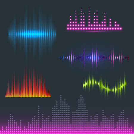 Vector digital music equalizer audio waves design template audio signal visualization signal illustration. Multitrack editing system soundtrack line bar spectrum electronic. 向量圖像