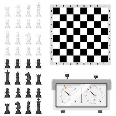 체스 보드와 chessmen 벡터 레저입니다. 개념 나이트 그룹 흰색과 검은 색 조각 경쟁. 전략 여가 전투 선택의 여지가 대회 절연.