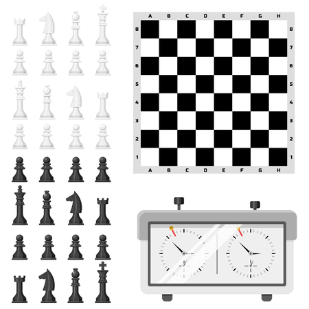 Chess board and chessmen vector leisure. Concept knight group white and black piece competition. Strategy play leisure battle choice tournament isolated.