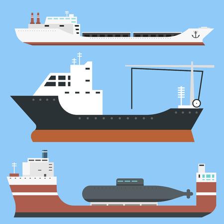 一連の商業配信貨物船とタンカー産業財側ビュー背景タンカー船のベクトル図に分離されたバルク キャリア列車フェリー貨物を配送