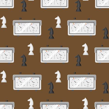 チェス盤のシームレスなパターン背景のチェスの駒のレジャーに。コンセプト騎士グループ白と黒の競争を部分します。戦略は、レジャーの戦い選  イラスト・ベクター素材