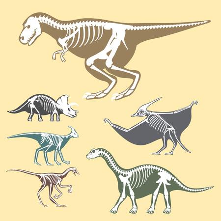 triceratops: Dinosaurs skeletons silhouettes set Illustration